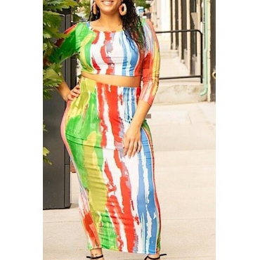 Lovely Leisure O Neck Printed Multiclor Mid Calf Plus Size Dress