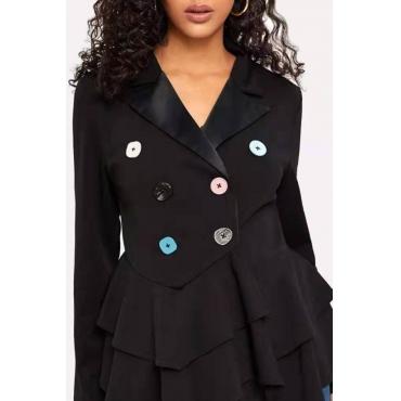 Lovely Casual Flounce Design Black Blazer