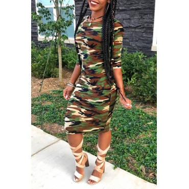 Lovely Casual O Neck Camouflage Printed Knee Length Dress