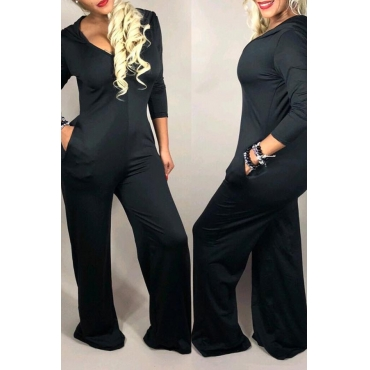 Lovely Casual Loose Black One-piece Jumpsuit