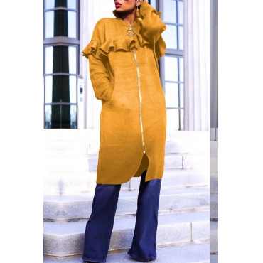 Lovely Casual Flounce Design Yellow Coat