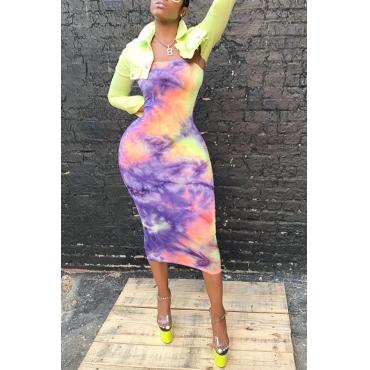 Lovely Street Turndown Collar Printed Green Two-piece Skirt Set