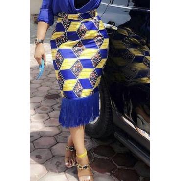 Lovely Trendy Tassel Design Blue Mid Calf Skirt