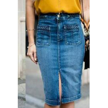 Lovely Work Pocket Patched Blue Knee Length Skirts