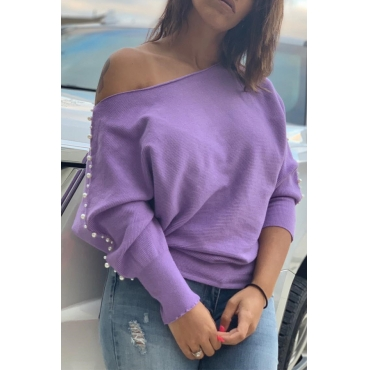 Lovely Trendy Nail Bead Design Light Purple Sweatshirt Hoodie