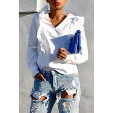 Lovely Chic V Neck Patchwork White Blouse