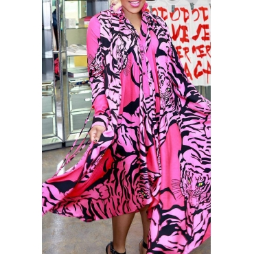 Lovely Trendy Printed Asymmetrical Pink Ankle Length Dress