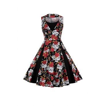 Lovely Casual Floral Printed Black Knee Length Dress