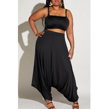 Lovely Casual Loose Black Plus Size Two-piece Pants Set