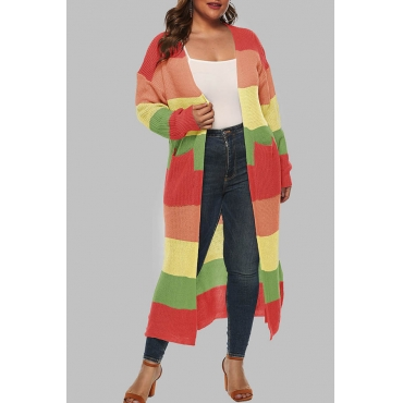 Lovely Casual Patchwork Green Plus Size Cardigan