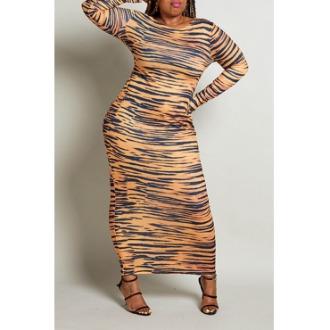 Lovely Casual Printed Multicolor Ankle Length Plus Size Dress