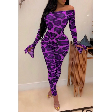 Lovely Sexy Leopard Printed Purple Two-piece Pants Set