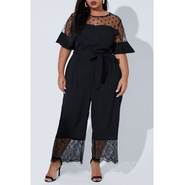 Lovely Casual Lace Patchwork Black Plus Size One-piece Jumpsuit