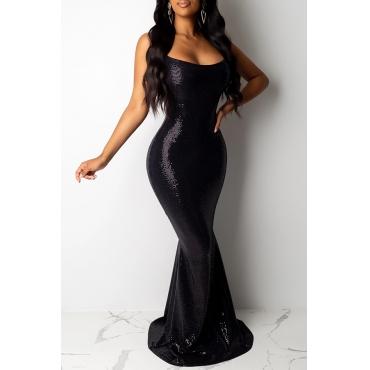 Lovely Party Spaghetti Straps Black Floor Length Evening Dress