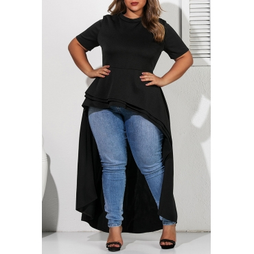 Lovely Casual Asymmetrical Black Plus Size Blouse