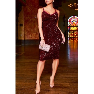 Lovely Party Spaghetti Straps Wine Red Knee Length Prom Dress
