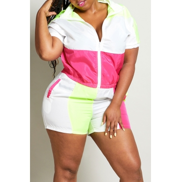 Lovely Sportswear Patchwork Rose Red Plus Size Two-piece Shorts Set
