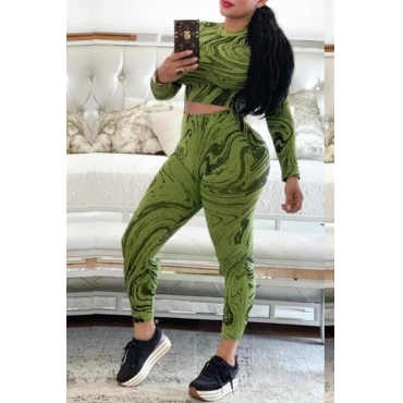 Lovely Casual Printed Skinny Green Two-piece Pants Set