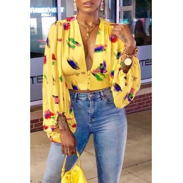 Lovely Sweet V Neck Printed Yellow Blouse