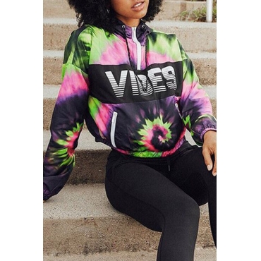 Lovely Sportswear Hooded Collar Printed Purple Hoodie