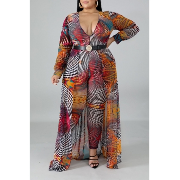 Lovely Casual Printed Multicolor Plus Size One-piece Jumpsuit