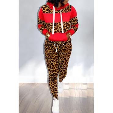 Lovely Trendy Hooded Collar Printed Red Two-piece Pants Set