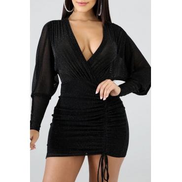 Lovely Casual V Neck Asymmetrical Black Mini Dress