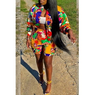 Lovely Casual Mandarin Collar Printed Multicolor Two-piece Shorts Set