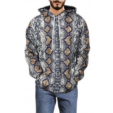 Lovely Casual Hooded Collar Snakeskin Printed Yellow Hoodie