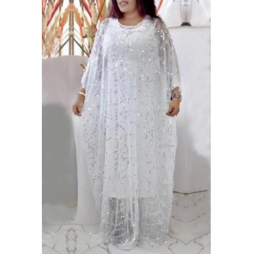 Lovely Casual Sequined White Plus Size Two-piece Skirt Set