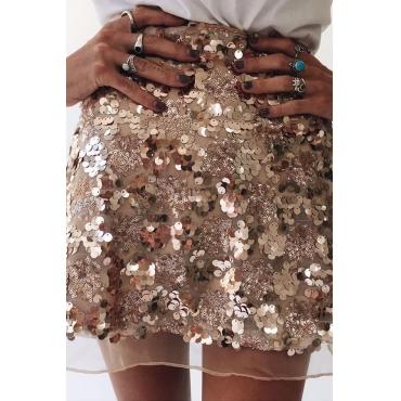 Lovely Sweet Sequined Gold Mini Skirt