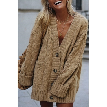 Lovely V Neck Button Design Khaki Cardigan
