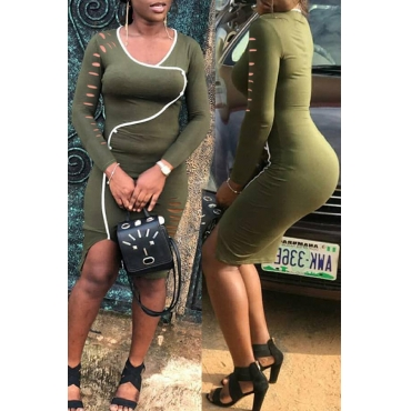 Lovely Casual Hollow-out Army Green Mini Dress