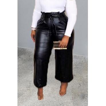 Lovely Trendy Ruffle Design Black Pants