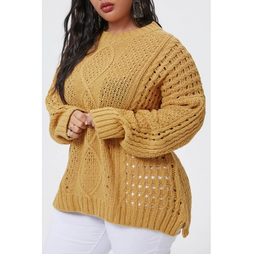 Lovely Casual O Neck Yellow Plus Size Sweater