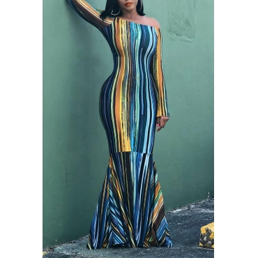 Lovely Casual Striped Blue Floor Length Trumpet Mermaid Dress