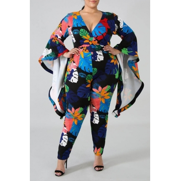 Lovely Casual Floral Printed Dark Blue Plus Size One-piece Jumpsuit