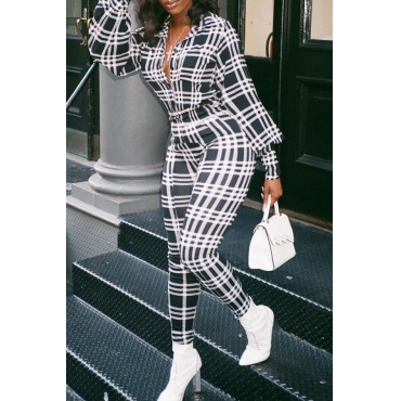 Lovely Casual Plaid Printed Black And White One-piece Jumpsuit