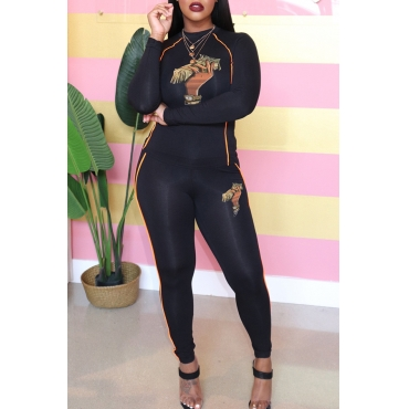 Lovely Chic Half A Turtleneck Printed Black Two-piece Pants Set