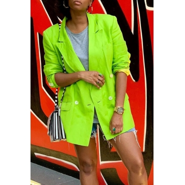 Lovely Casual Buttons Design Green Blazer
