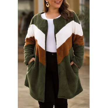Lovely Casual Patchwork Army Green Plus Size Coat