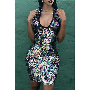 Lovely Party Sleeveless Multicolor Mini Dress