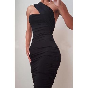 Lovely Temperament One Shoulder Ruffle Design Black Knee Length Dress