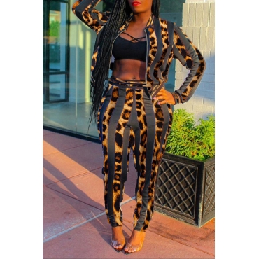 Lovely Trendy Leopard Printed Two-piece Pants Set