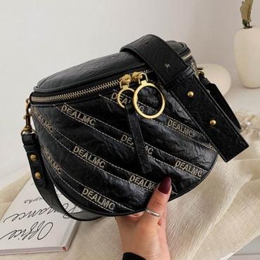 Lovely Casual Letter Black Messenger Bag