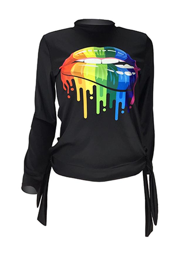 Lovely Casual O Neck Lip Printed Black Sweatshirt Hoodie