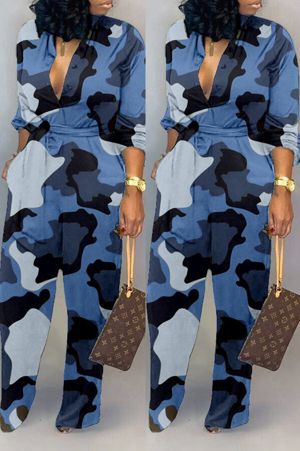 Lovely Casual Camouflage Printed Blue One-piece Jumpsuit фото