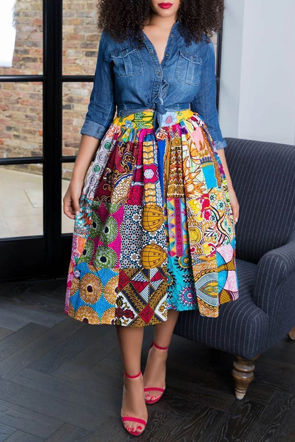 Lovely Casual Printed Multicolor Knee Length Skirts