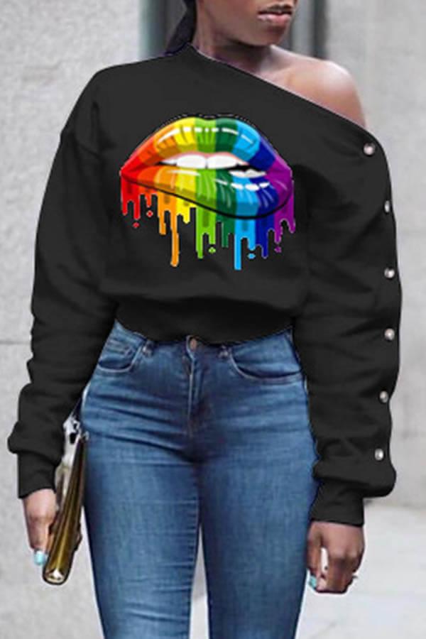 Lovely Casual Asymmetrical Neckline Lip Printed Black Sweatshirt Hoodie