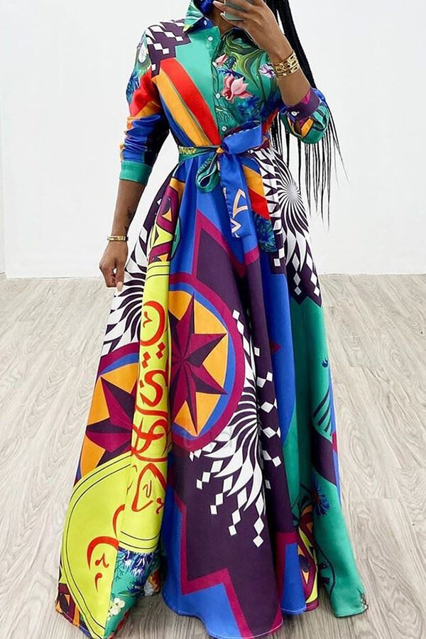Lovely Trendy Turndown Collar Printed Multicolor Floor Length Dress